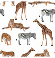 exotic animal tiger zebra giraffe pattern vector image