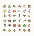 farm sign color thin line icon set vector image