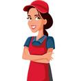 female sales clerk supermarket employee standing vector image