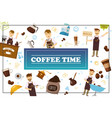 flat coffee time colorful concept vector image vector image
