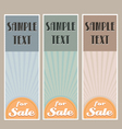 for sale retro banner set vector image vector image