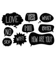 grunge speech bubbles with hand drawn text vector image