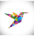 humming bird symbol with colorful geometric vector image