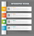 infographics tab in horizontal paper index with 4 vector image vector image