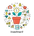 Investment Line Art Thin Icons Set with Money vector image vector image