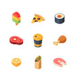 isometric food sushi meal bread fruit fish vector image vector image