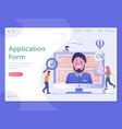 job application form web page landing template vector image