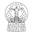 line cristo statue inside snow ball glass vector image