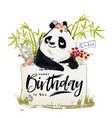 little birthday panda vector image vector image