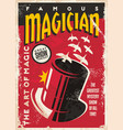 magician tricks show retro flyer design vector image vector image