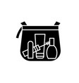 makeup bag black icon sign on isolated vector image vector image