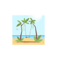 palm trees with rope swing semi flat vector image vector image