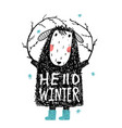 quirky winter sheep in warm clothes hello winter vector image vector image