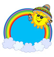 rainbow circle with mexican sun vector image vector image