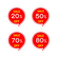 red sale discount percentage label vector image