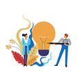 scientist and engineer with tool light bulb and vector image vector image