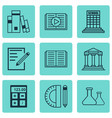 set of 9 education icons includes chemical vector image vector image