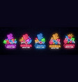set of bright neon signs for the cinema vector image vector image