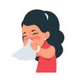 sneezing girl kid blows nose into handkerchief vector image