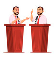 speaker man podium with microphone giving vector image vector image