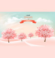 spring nature background with blossom cherry vector image
