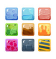 textural game buttons set colored design square vector image vector image