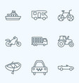 transportation icons line style set with cruise vector image