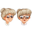 two faces grandmother wearing different glasses vector image
