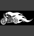 white silhouette motorcycle racing with fire on vector image vector image