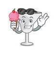 with ice cream margarita glass character cartoon vector image