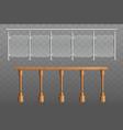 wooden metal glass handrails 3d realistic vector image