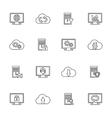 design set with hosting server database vector image