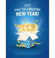 2020 golden number fly from blue gift box poster vector image