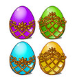 a set of multicolored eggs in a golden frame vector image vector image