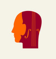 a violin in a human head flat-style music icon vector image