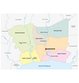 administrative map bangkok metropolitan area vector image vector image