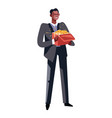 african american rich man with gold in box vector image