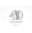anniversary 40 silver 3d numbers vector image vector image