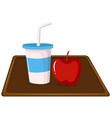 apple and a milkshake on tray vector image