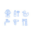bathroom icons set bathrobe razor shaving gel vector image vector image