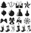 black white 18 christmas elements silhouette set vector image vector image