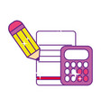 calculator math finance with pencil and paper vector image vector image