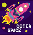 cartoon flat with a spaceship outer space vector image vector image