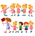 Chidren characters in different actions vector image vector image