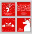 christmas card set with deer vector image vector image