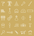 Construction line icons on brown background vector image vector image