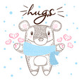 cute bear huge hugs love and winter vector image