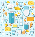 dairy products seamless pattern with milk cheese vector image