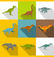 dinosaur icon set flat style vector image vector image