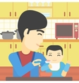 Father feeding baby vector image vector image